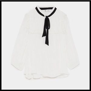 Zara new with tag ruffle blouse with tie bow